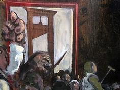 Foule devant guillotine, peinture huile, détail