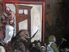 Peinture, guillotine, foule hurlante