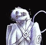 Homme tête inclinée, dessin noir et blanc, détail
