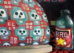 Peinture, pantoufle, canette de bière, têtes de mort