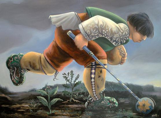 Homme courant dans paysage pluvieux, peinture à l'huile