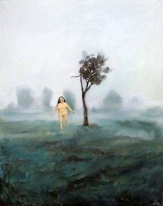 Jeune femme nue dans brume de Normandie, peinture acrylique