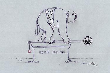 homme sur un socle, dessin encre noir et blanc