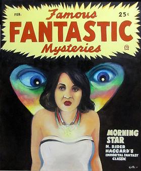 Peinture huile sur toile, portrait de femme sur couverture de magazine fantastique années 40