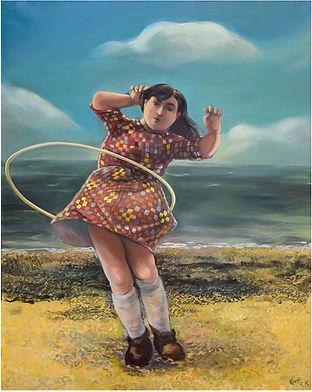 Petite fille jouant avec hula hoop, portrait peinture à l'huile