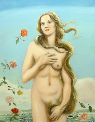 Nathalie en Vénus de Botticelli, peinture huile sur toile,