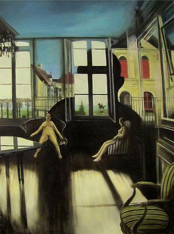 femmes nues assises dans un salon, avec paysage en fond derrière ls fenêtres