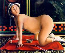 Femme nue à quatre pattes, sur drapé rouge, peinture huile