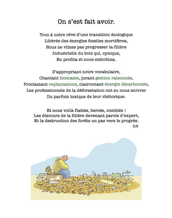Personnage assis pleurant devant forêt détruite, avec poème de O Rivaz, dessin couleur