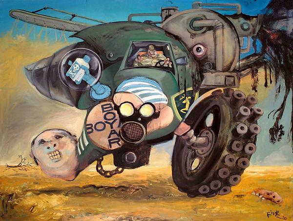 Machine agricole épandant pesticides et lisier, peinture à l'huile