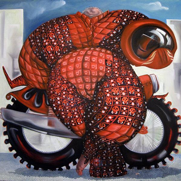 Motard rouge avec têtes de mort, peinture acrylique, portrait