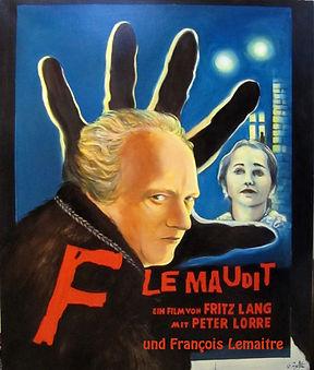 Peinture huile sur toile, portrait, François Lemaitre, Ségolène Royal, sur affiche, M le maudit de Fritz Lang
