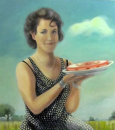 Portrait de femme, peinture huile sur toile, paysage