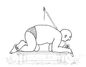 homme, quatre pattes, socle, bâton, ficelle, slip, dessin, noir et blanc