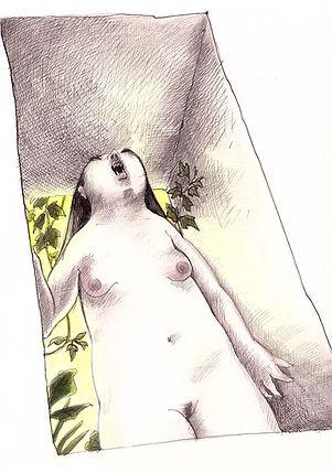 Dessin, vampire, nue, passage