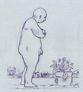 Dessin, homme nu, profil, pot de fleurs