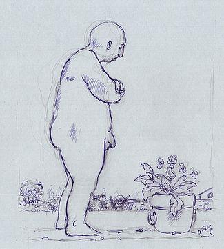 Homme nu de profil devant pot de fleurs, dessin artistique noir et blanc