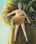 Femen tenue par un géant, peinture à l'huile, détail