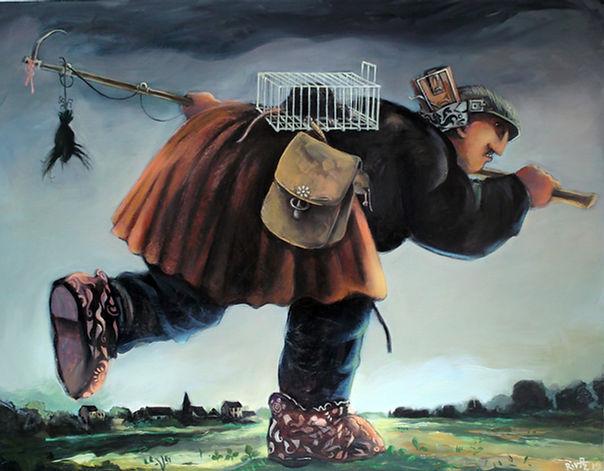 Homme portant rat en cage, peinture à l'huile