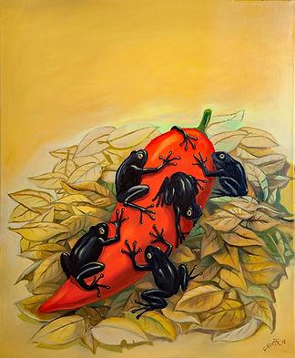 Grenouilles noires sur un piment rouge, peinture huile sur toile