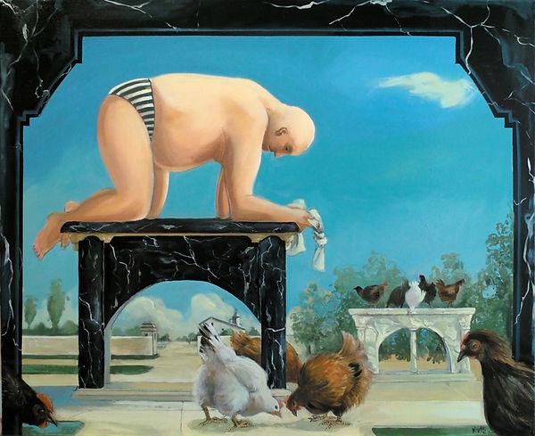 homme, quatre pattes sur socle, poules, monuments, peinture