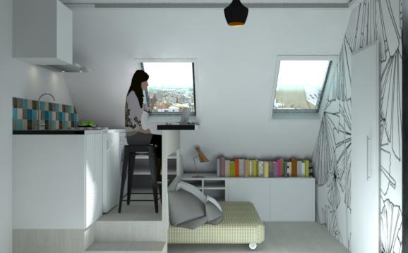 Un studio sous les toits