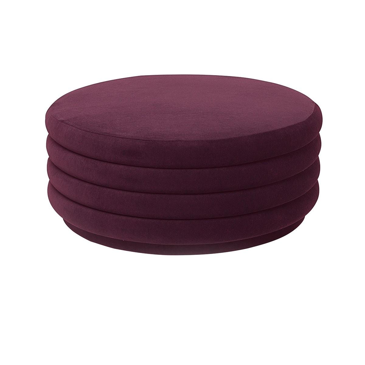 pouf-round-ferm-living-bordeaux-l