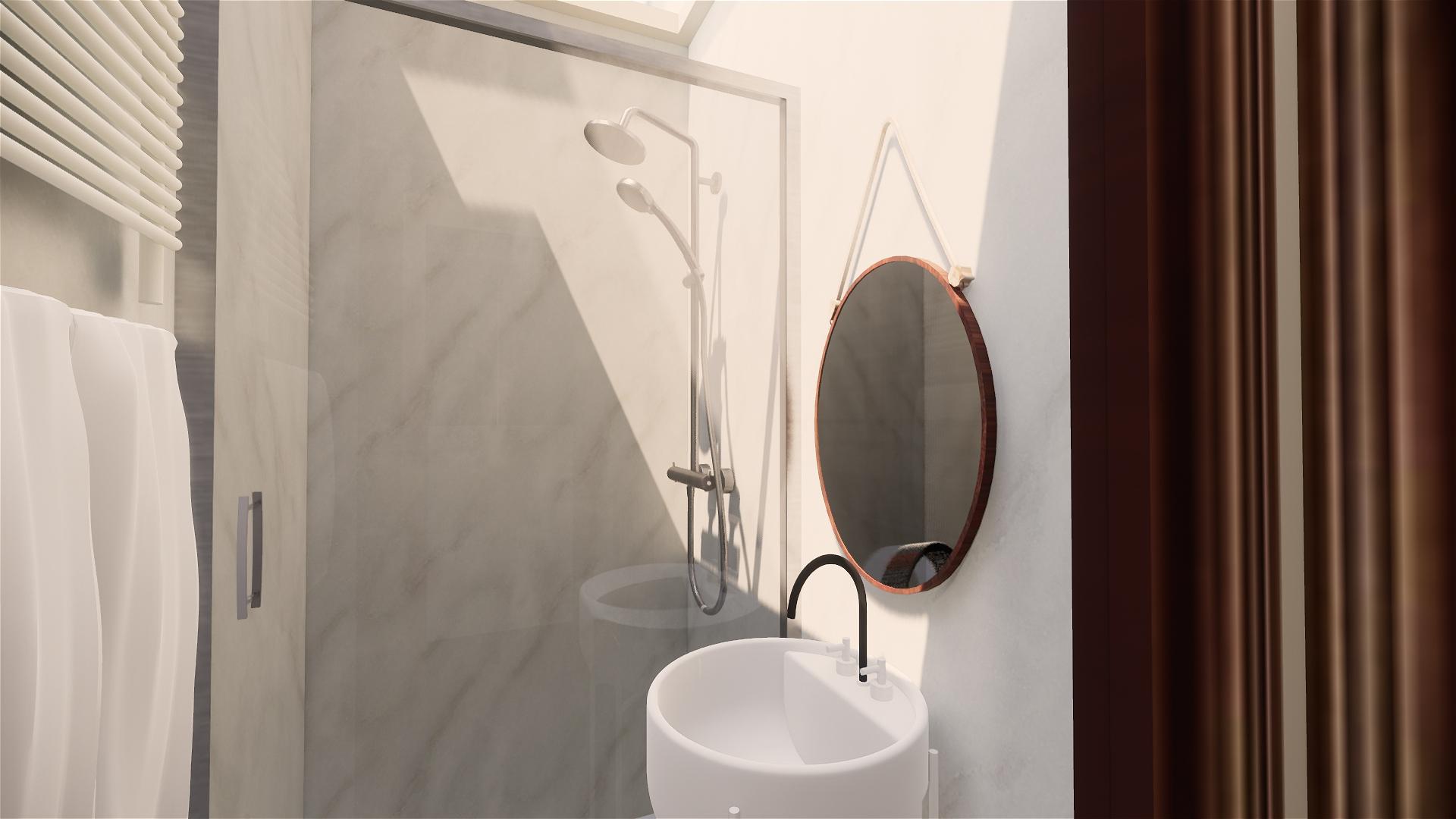 Salle d'eau et large douche confortable