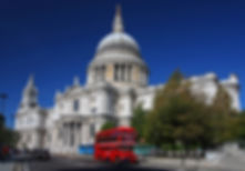 St. Paul's Cathedral and red bus in Lond