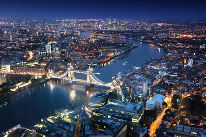 London at night with urban architectures