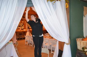 Ashley setting up