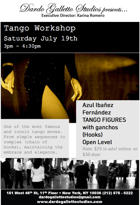 New Tango Workshop at Manhattan- July 19th.