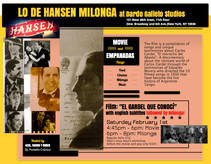 TANGO, MOVIE & EMPANADAS ON SATURDAY FEBRUARY 1st AT DARDO GALLETTO STUDIOS