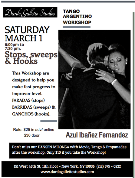 March 1st Azul's Workshop at Manhattan in Dardo Galletto Studios