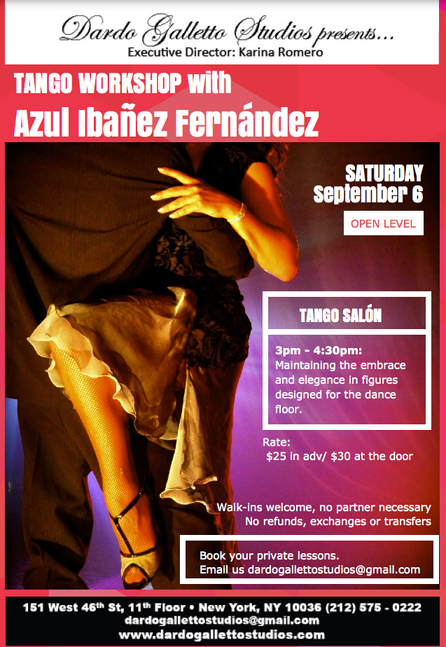 New Special Dance Workshop with Azul at New York - September 6th.