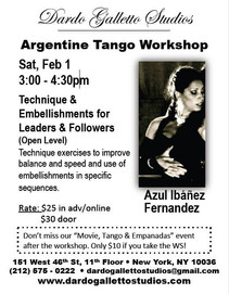"Azul's February WORKSHOP in New York: ""Technique & Embellishments for Leaders & Followers (Open Leve"