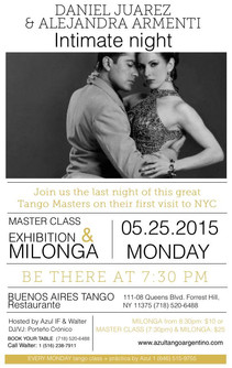 SPECIAL MILONGA MONDAY MAY 25th. with DANIEL JUAREZ & ALEJANDRA ARMENTI