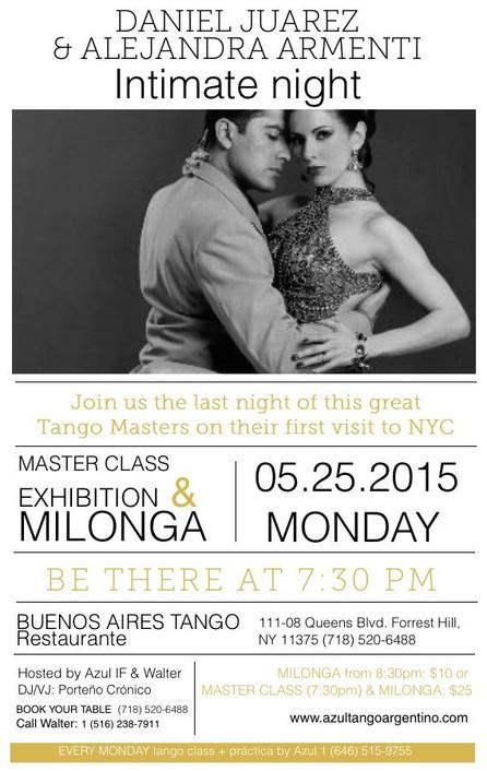 SPECIAL MILONGA MONDAY MAY 25th. with DANIEL JUAREZ & ALEJANDRA ARMENTI