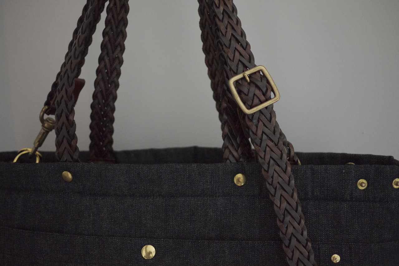 TOTE BAG DENIM & LEATHER BRAIDED