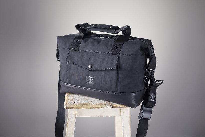 RIDER BAG BLACK CORDURA & LEATHER 13 INCH