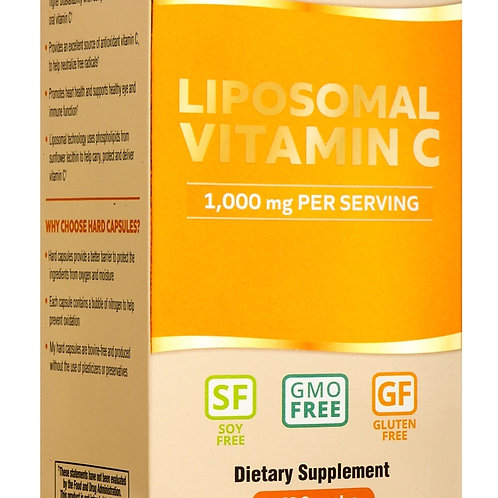 Liposomal Vitamin C Dietary Supplement - 30 servings (60 Capsules), Non-GMO