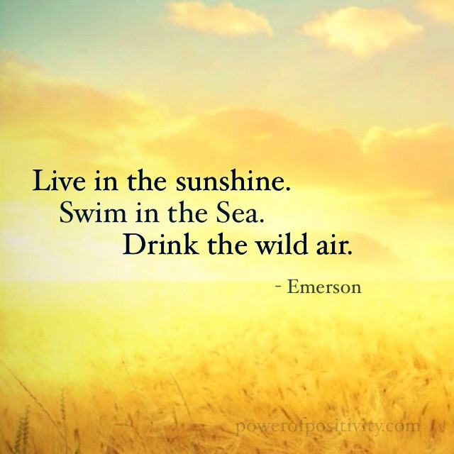 Sun shining with a quote from Emerson