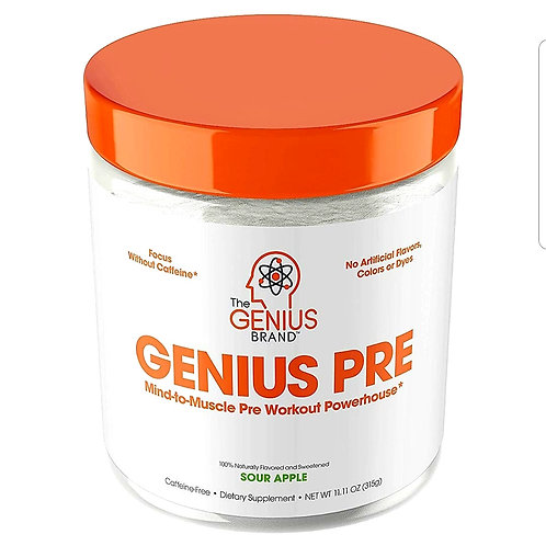 Genius Pre Workout Powder - All Natural Nootropic Preworkout & Caffeine Free