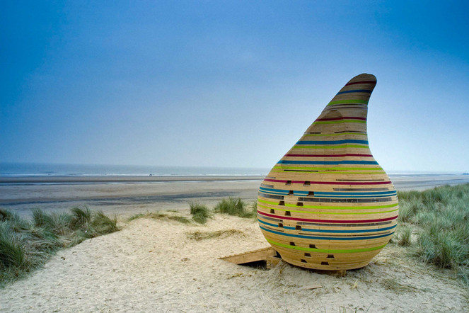 Jabba the Hut. One of the Bathing Beauties beach huts at Mablethorpe, Lincolnshire.