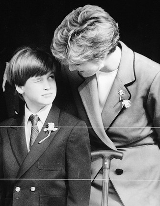 Prince William's first official engagement, in Cardiff with Diana, Princess of Wales