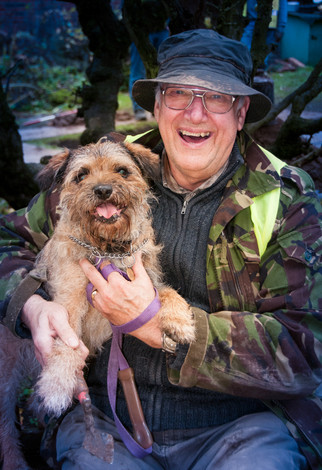 Stewart - retired fireman and Alfie the dig dog
