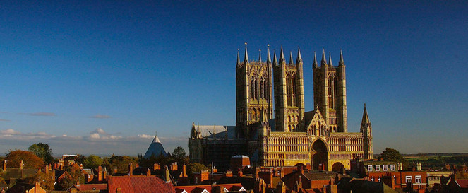 Lincoln Cathedral in blue and gold