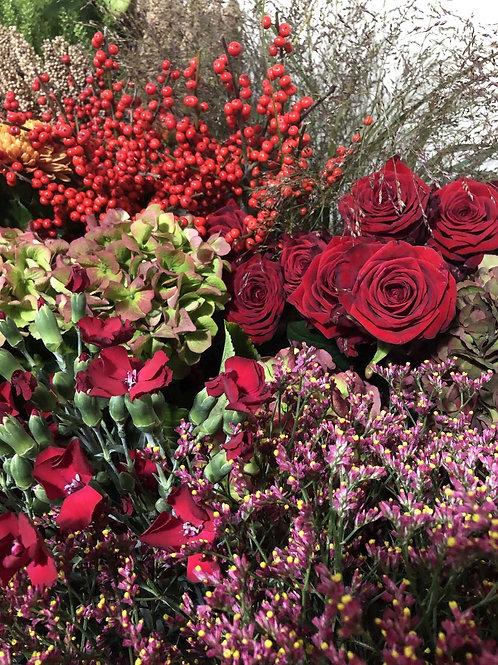 Bouquet d'automne tons rouges - à partir de