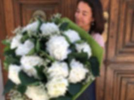 Bouquet hortensias blancs