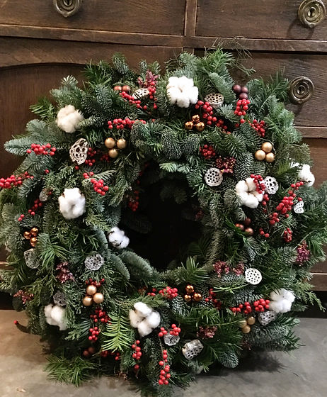Sapin ilex coton couronne de Noël